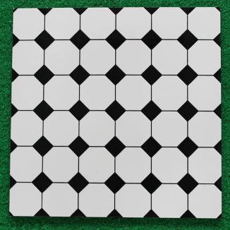 300*300陶质釉面地砖黑白圆圈简单大方风格地板砖
