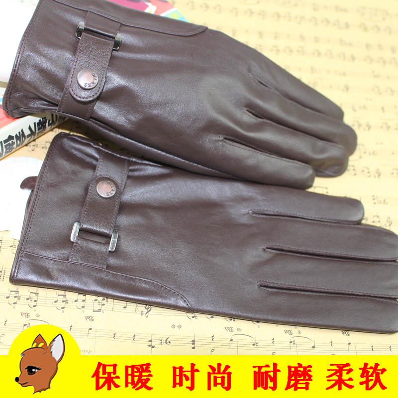 男士真皮手套 秋冬羊皮手套保暖舒适丝滑内里摁扣设计