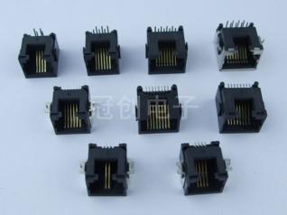 沉板式RJ45插座 超薄型RJ45母座 细小型RJ45网络连接器