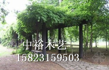中裕木艺供应碳化木 户外田园庭院花架 防腐木走廊 葡萄架 园林花架