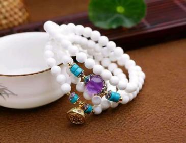 天然白砗磲 天然紫晶 纯银莲蓬手链批发