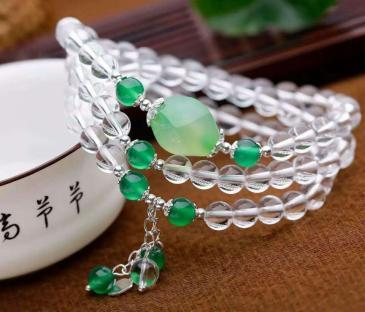 天然白水晶 绿玛瑙 纯银配件手链批发