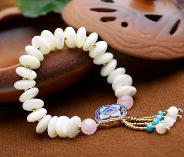 天然银丝砗磲盘珠手链批发