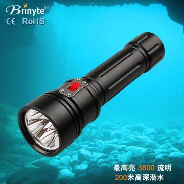 强光潜水手电筒 Brinyte DIV15黑色 三档调光 磁控侧推开关 厂家