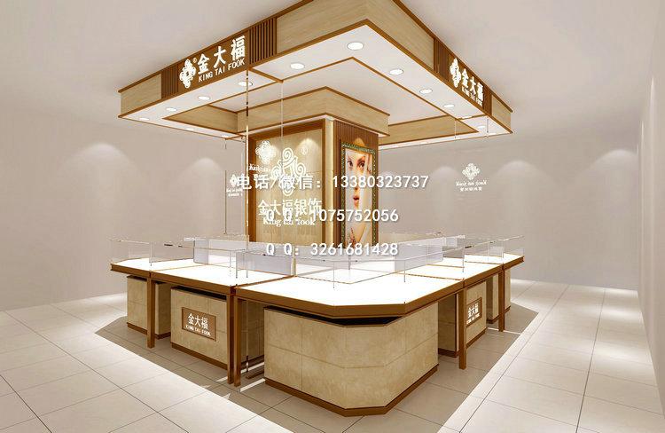金大福珠宝展示柜,商场珠宝展柜设计,时尚珠宝首饰展柜定制
