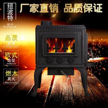 厂家直销别墅用实木取暖欧式独立铸铁真火燃木壁炉芯取暖炉