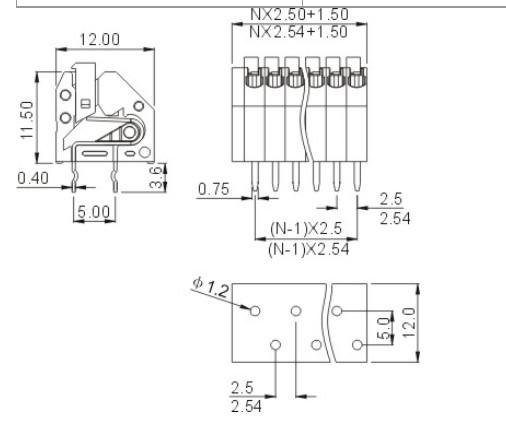 """智能系统专用FS250连接器端子台2.5mm间距 型号:FS250-250 电气性能 参考标准 UL IEC 额定电压 300V 250V 额定电流 2A 2A 导线线径 24-20AWG 0.2-0.5mm2 耐电压 AC2000V/1Min 机械性能 环境温度 -40C~+105C 剥线长度 8.5-9.5mm 尺寸 间距 2.5mm(.098"""") 2.54mm(.100"""") 极数 1P-XXP 材质和电镀 塑件 PA66,UL94V-0 焊脚 磷青铜,镀锡 弹片 不锈钢 端子联系QQ:59302"""