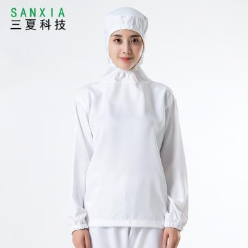 透气食品厂工作服套装连帽车间专用无尘工装白色