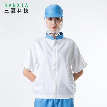 食品厂工服短袖食品厂服拼色分体防尘套装白色吸汗透气好洗可印字