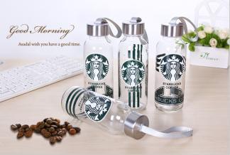 透明玻璃杯水杯带盖创意便携男女士杯子防漏耐热水瓶运动茶杯礼品