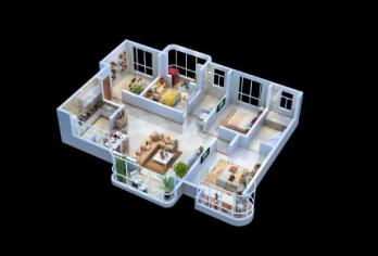 3D户型图设计|花园洋房户型图渲染