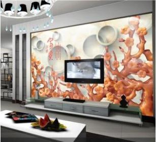 上海2015新款玉雕电视背景墙