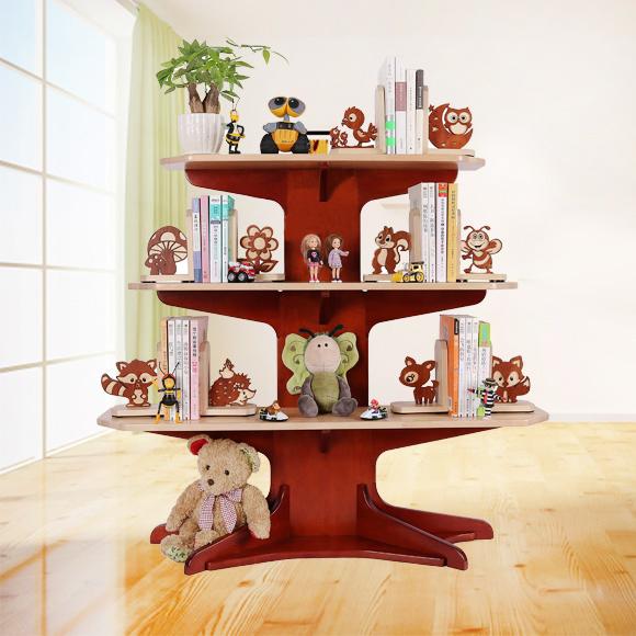 【苏宁众筹】实木+环保 带有小动物书档的小树书架