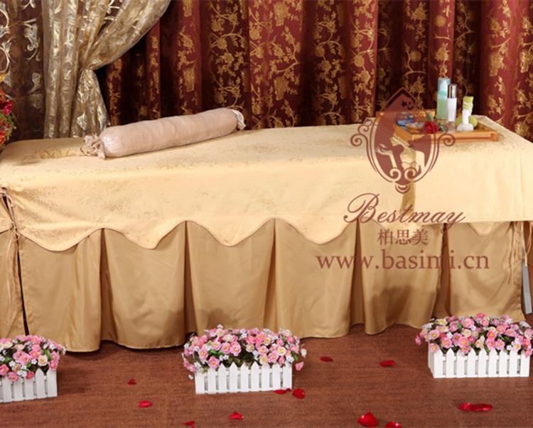 专业定制美容院按摩院高档美容床罩四件套金色刺绣美容美体床罩图片2