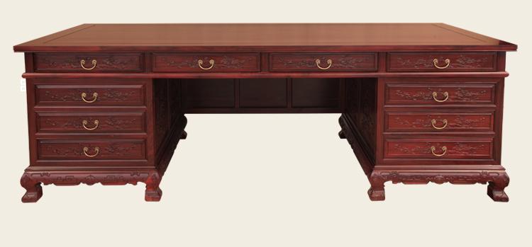 红木办公桌-缅甸花梨木家具-东阳红木家具