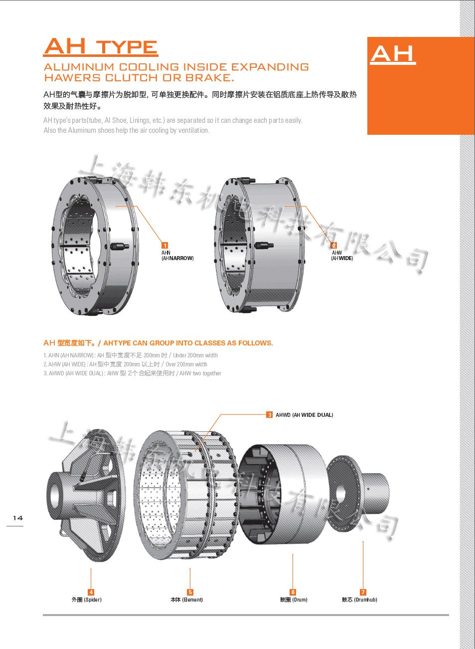 Q Q: 2953985173 传真:021-57636570 型号:鼓式离合器AH系列: 详细描述;技术参数: 品 名:鼓式离合器AH系列 品 牌:韩国豪沃斯 型 号:AHN-16 重 量:75(kg) 外形尺寸:660x660x180(mm) 气 压:0.1bar-8bar 制动扭矩:1019000000N.M 鼓式离合器AH使用范围: 广泛应用于船舶发电机.