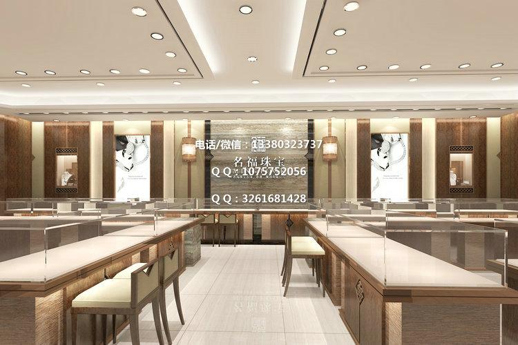 惠州名福珠宝展示柜,商场珠宝店面装修设计